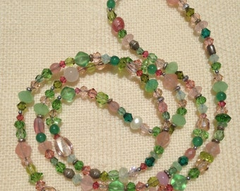 Pink & green confetti necklace #1