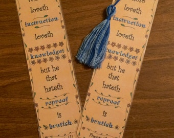 Bible Verse Bookmark - Proverbs 12:1 - handmade WITH tassel  (stock #27) instruction knowledge refroof