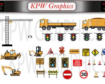 Construction Clipart Set 1 with vehicles and accessories in quality PNG format. Personal & Small Commercial use (PK1)