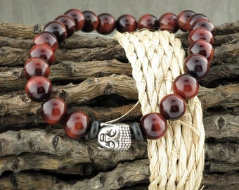 "Red Tiger Eye Buddha ""Bead"" Stretch Bracelet"