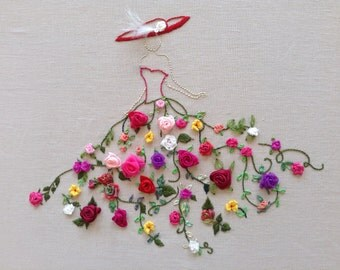 """Embroidery kit, """"Robe de bal"""", hand ribbon embroidery"""