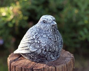 """Bird Statues, Garden Decor, Birdbath Bird Figure, 4.25"""" Tall, Solid Cement Garden Bird, Cast Stone Garden Statues, Yard Art"""