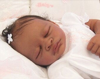 """Biracial Reborn Sleeping Baby Girl """"Aisha"""" by Believable Babies for People with Dementia and Alzheimer's- Doll Therapy for Memory Care"""