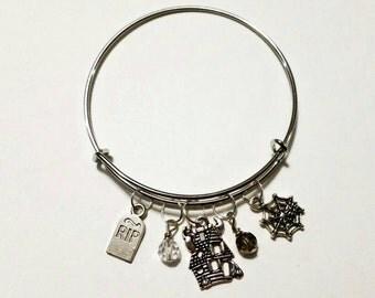Disney's haunted mansion inspired adjustable bangle, Halloween charm bracelet