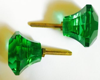 2 Green Crystal Drawer Pulls with Brass Screw and Nut
