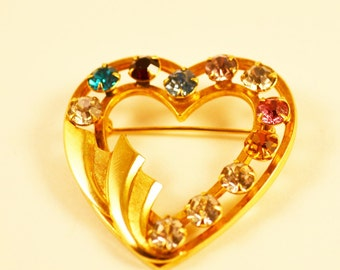 Catamore Gold Filled Rhinestone Heart Brooch, 1960's,  Vintage, Signed