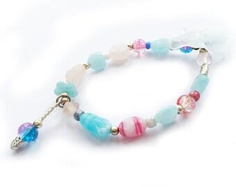 Blue and pink Children's Bead dangle bracelet