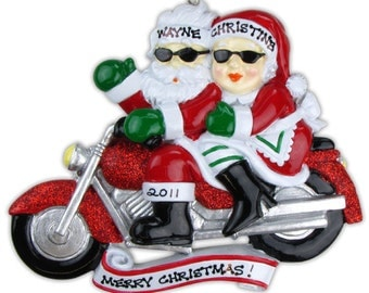 Personalized Mr. & Mrs. Santa Clause Motorcycle, Harley Davidson Christmas Ornament Newlywed Couple's 1st Christmas, Grandparents Gift