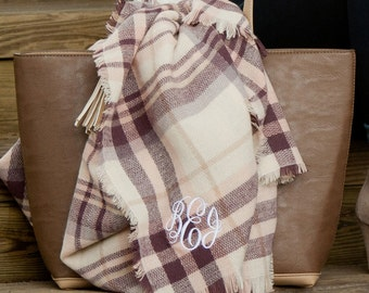 Monogram Blanket Scarf, Personalized plaid Scarf, Monogrammed Scarf, Wraps, personalized gifts, monogrammed gifts, womens gift