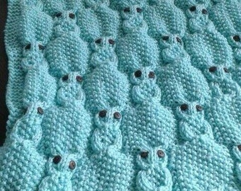 Baby Knitted Owl Blanket