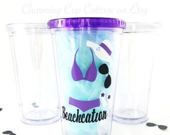 Bikini Tumblers/Beachcation/Beach Tumblers/Beach Lovers/Cute Tumblers/Beach Gifts/Beach Cup/Tumbler Gifts