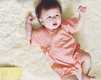 Baby kimono, rompers jinbei, TSULU CORAL, fabric by Atelierbrunette