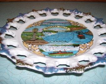 Vintage Souvenir Plate of Niagara Falls, Canada.