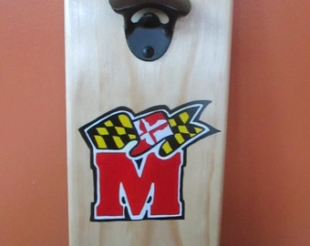 University of Maryland with Maryland Flag Banner Wooden Bottle opener with cap catcher bottle cap catcher opener
