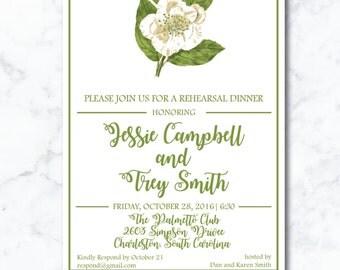 Rehearsal Dinner Invitation | Engagement| Magnolia | Printable Customizable