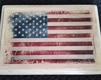 American Flag on piece of wood