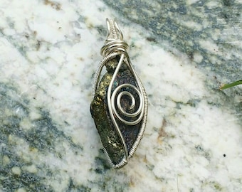 Silver Wire Wrapped Chalcopyrite