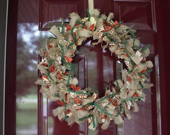 Fall inspired fabric/burlap wreath