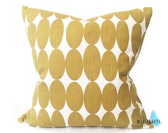 Mustard Yellow Pillow- Yellow Pillow Cover- Scandinavian Pillow- Contemporary Pillow- Modern Pillow- Yellow & white- Designer- Handmade