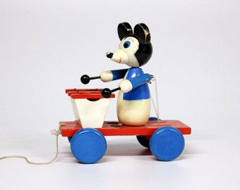 Mickey Mouse wooden pull car-Vintage children's toys