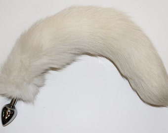 16-17'' Arctic White  Fox tail butt plug! your choice of Small or Medium Stainless Steel Butt plug