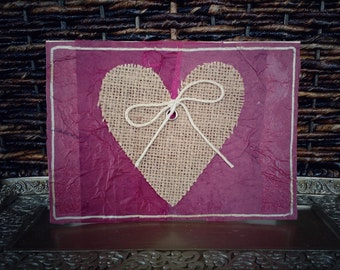 Heart & Bow Cards // Set of 4 // Cream Card Stock // Layered Tissue Paper // Gold Outline