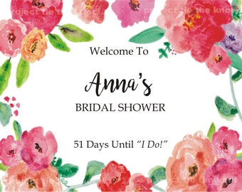 Bridal Shower, Printable Welcome Sign, Peony Floral