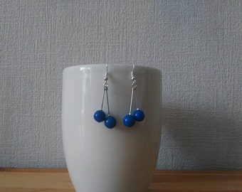 Gem stone Earrings: Blue JADE (6mm)