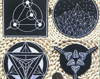 4 Kinds Super Cool Black And White 3D Starry Sky Patch Iron Sew On Patch