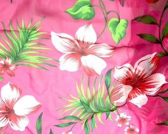 """Fabric Remnant, Pink Chiffon with Tropical Flower Print  29"""" x 17""""  -2204-R004"""