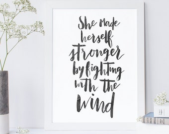 Fighting the Wind Printable, Quote, Art Print, Typographic Print, Wall Art, Typography, Encouraging Wall Art, Printable Poster