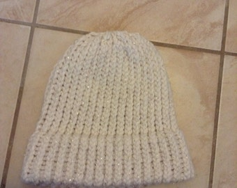 Adult hand knitted white with gold speckle hat