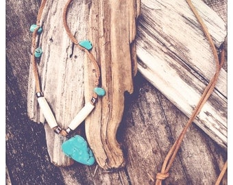 Boho long leather necklace with navajo inspired style