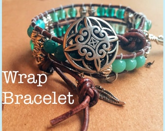 Bohemian Leather Wrap Bracelet, Double Wrap Bracelet, Turquoise Leather Wrap Bracelet