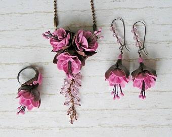 Set of jewelry chocolate-pink fuchsia earrings fuchsia ring fuchsia necklace fuchsia pendant fuchsia  brown jewelry statement jewelry set