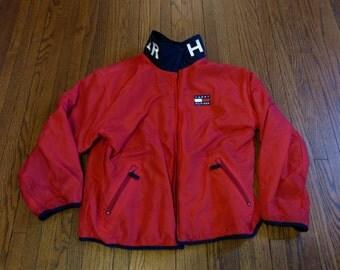 VTG 90's Tommy Hilfiger Reversible Windbreaker Plaid Flannel Fleece Jacket sz M