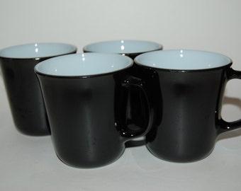 Vintage Black Pyrex Diner-Style Mugs - Set/4