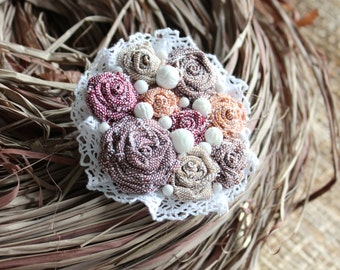 Free shipping! Multicolored textile brooch Colorful textile brooch Fabric brooch Flower textile brooch Boutonniere Handmade textile brooch