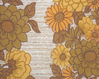 1970s FLORAL CURTAIN FABRIC..unused..daisy flower pattern..vintage..retro..6ft 180cm drop..yellow gold mustard brown..pillow cushion..craft