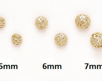 14K Solid Yellow/White Gold Ball Stud Push-Back Earrings Set (Multiple Sizes Available) #S92850