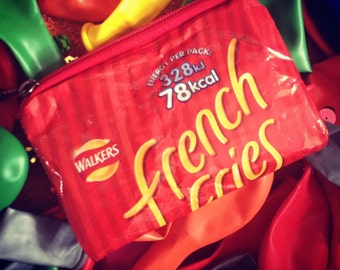 French Fries Red Recycled Crisp Packet Purse