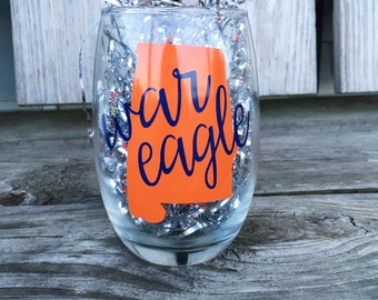 Auburn Tigers War Eagle Wineglass - Alabama State Cutout - SEC Football 2016 - Tailgate Party