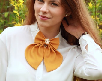 Camel Matte Women's Bow Tie Genuine New - Free Shipping