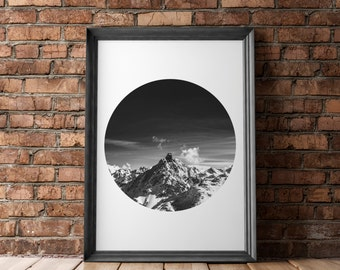 Mountain Cirlce Digital Print, Exploration Decor, Wood Print, Nature Walk Print, Exploring Print, Mountain Print, Wooden Slat Print