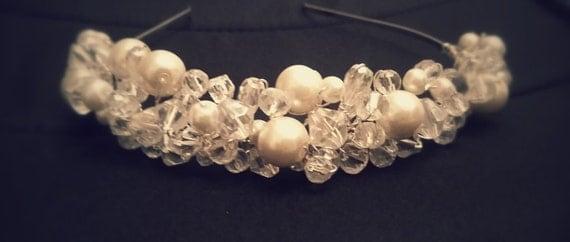 Hair band / tiara / beautiful pearl and crystal headband/ tiara / Bridal hair piece