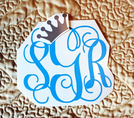 """Custom Car Monogram Decal Approx. 5"""" x 6""""  (Plain, Crown, and Pointe Shoes Accent Options Available)"""