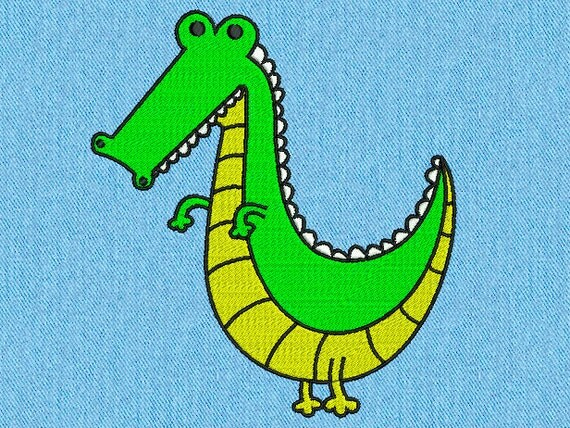 Crocodile - Machine embroidery design - 2 size for instant download