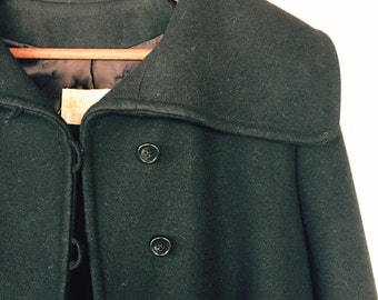 L.A. Schulman Long Black Woolen Coat A-Shaped high collar size M