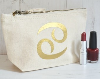 Zodiac Makeup Bag | Best Friend Gift | Cancer Zodiac | Astrology Gifts | Personalised Zodiac Symbol