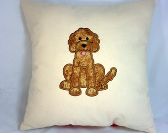 Labradoodle Dog Applique Machine Embroidered Muslin Accent Pillow